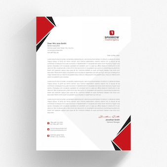 White letterhead and cv template with red and black details