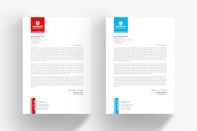 White letterhead template with red and blue details