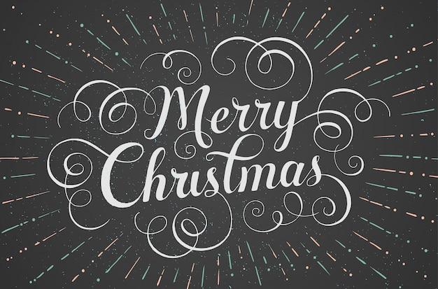 チョークボードのメリークリスマスのグリーティングカードをレタリングホワイト。ベクトルイラスト。