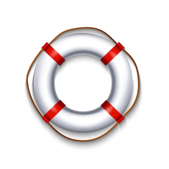 White lifebuoy with red element rope isolated on white background, illustration.