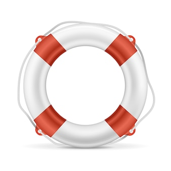 White lifebuoy with red stripes and rope