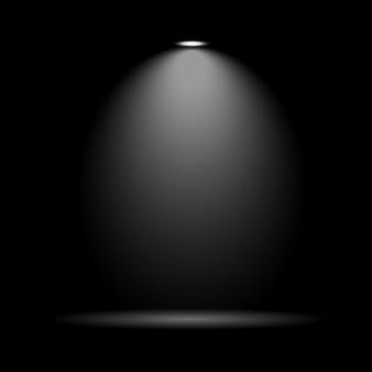 劇場の舞台やスタジオのシーンの装飾のための黒い背景に白色光ビームスポットライト