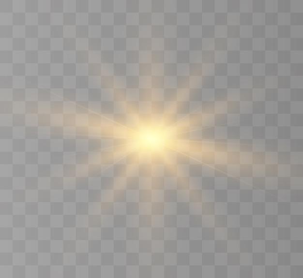 Эффект белого света, яркая звезда, солнечное свечение.