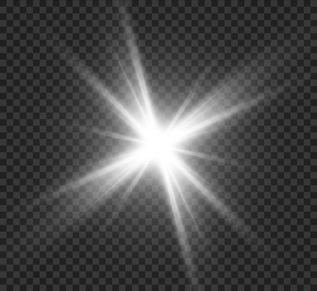 白色光効果、明るい星、太陽の輝き。