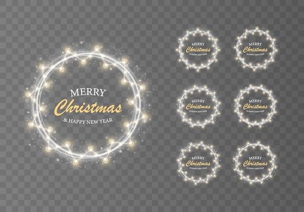 クリスマスクリスマスカードの白い光のリングと花輪