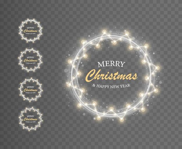 Белые световые кольца и гирлянды для рождественского приветствия