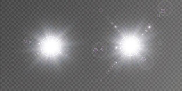 白色光、セット。輝く星、美しい太陽のまぶしさ。