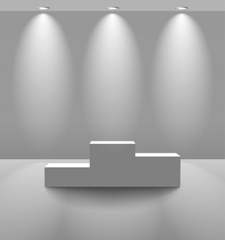 White lightened room with pedestal