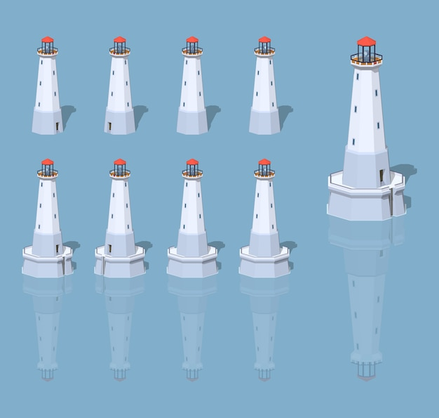 White lighthouse. 3d lowpoly isometric vector illustration.