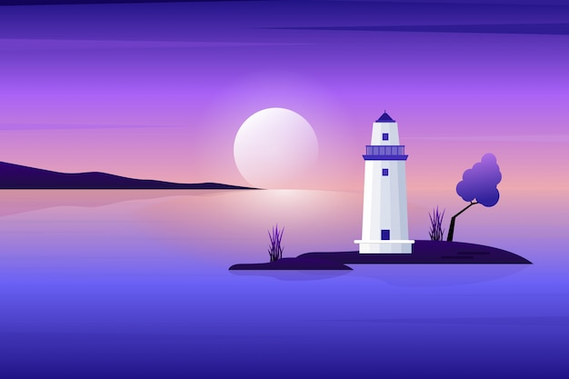 White lighthouse with evening sunset and purple sky landscape illustration