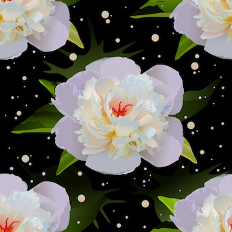 White lily on black water. seamless floral background