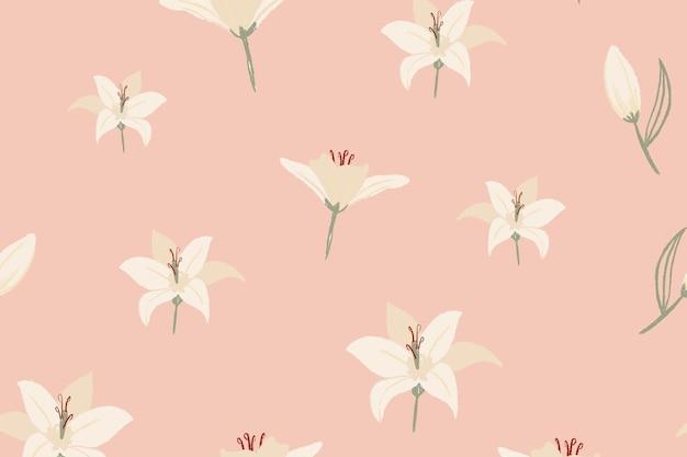 裸のピンクの背景に白いユリの花柄のベクトル