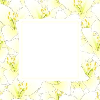 ホワイトリリーフラワーバナーカード