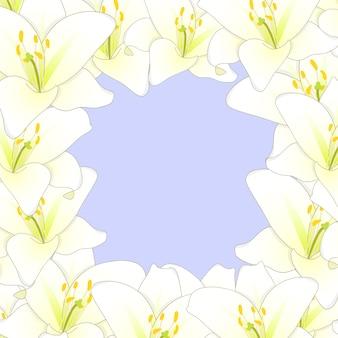 白い白い花のボーダーは、紫の背景2で分離