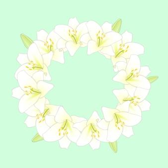 Белый цветок лилии венок на фоне зеленой мяты