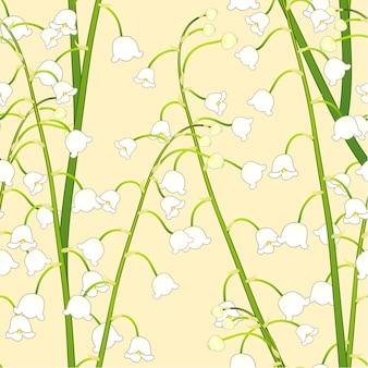 黄色の背景に白い蓮の谷