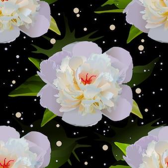 黒い水に白いユリ。シームレスな花の背景