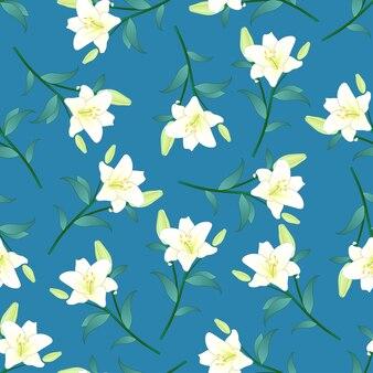 Белая лилия на синем фоне