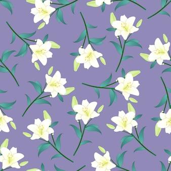 Белая лилия на фиолетовом фоне