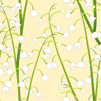 White lily of the valley on yellow background