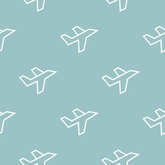 White line plane icon - seamless pattern on blue background. flying airplane icon. airliner sign. vector illustration