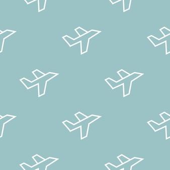 白い線平面アイコン-青い背景のシームレスなパターン。飛行機のアイコンを飛んでいます。旅客機のサイン。ベクトルイラスト
