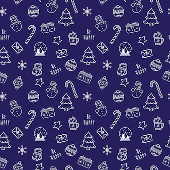 White linear cartoon christmas and new year seamless pattern with snow ball, candy, snowflakes, calendar, snowman
