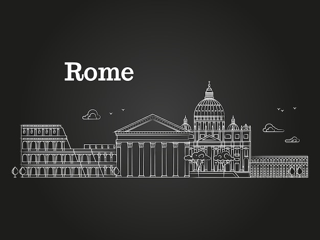 White linear rome panorama with famous buildings