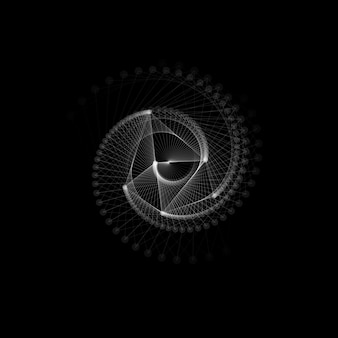 白い線と点、らせん状のねじれ。抽象的な幾何学的形状。