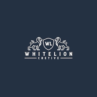 白いライオンラインアートのロゴ