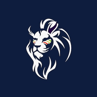 White lion logo with free vector