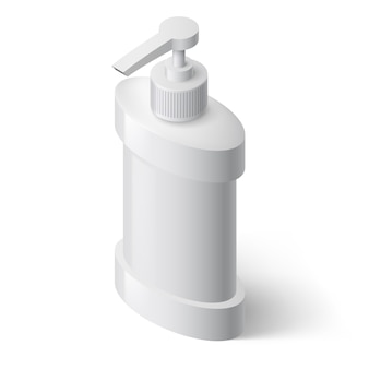 White liquid soap dispenser in isometric style