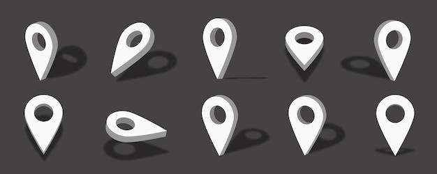 さまざまなビューと角度で白い場所の3dアイコンの図
