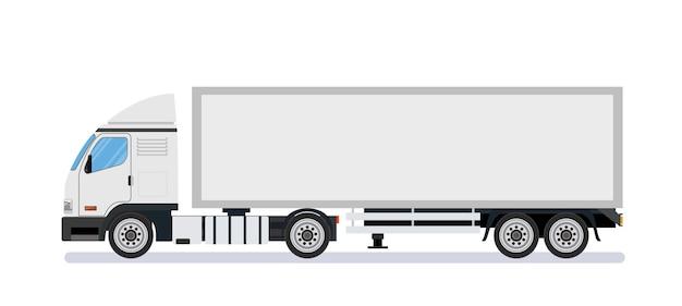 Белый длинный грузовик шаблон