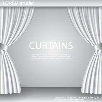 リアルなスタイルのイラストで劇場の舞台に白い豪華なエレガントな開いたカーテンテンプレート