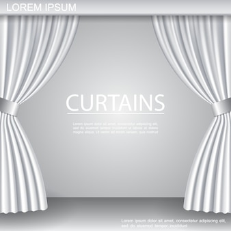 White luxurious elegant opened curtains template on theater stage in realistic style illustration