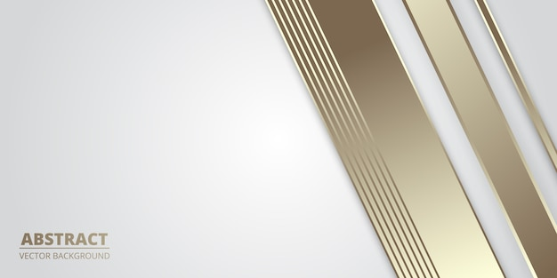White luxury abstract background with golden lines.