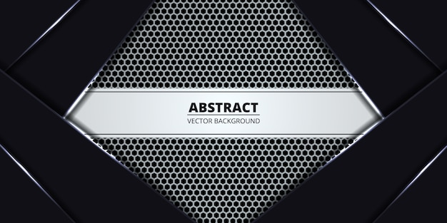 White luxury hexagon carbon fiber banner background.