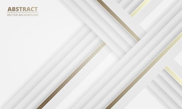 金と白の線で白い高級光の抽象的な背景。明るいラインでモダンな白いバナー。
