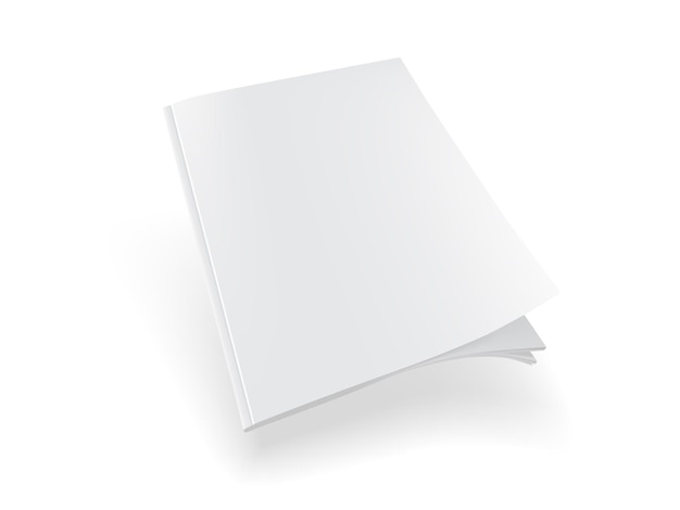 白い背景の上の白い雑誌のモックアップベクトル