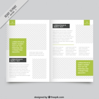 White magazine template with green parts