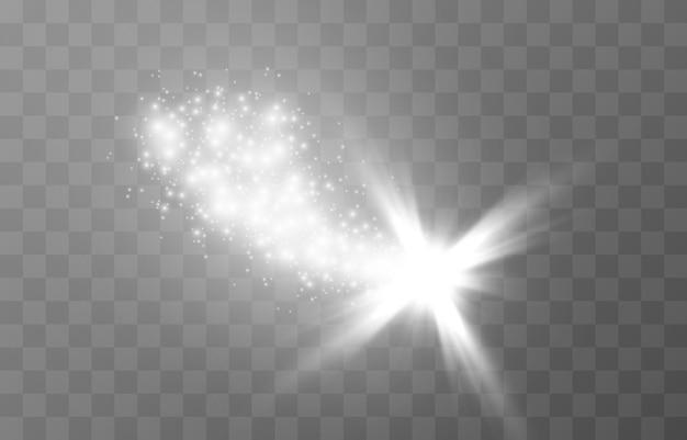 Белое волшебное сияние сияющие искры белая звезда сверкающая волшебная пыль рождественский свет