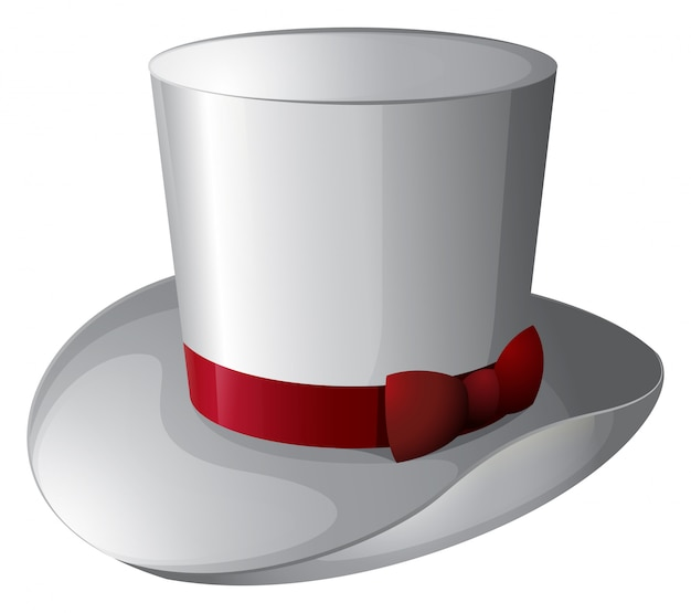 A white magician hat with a red ribbon