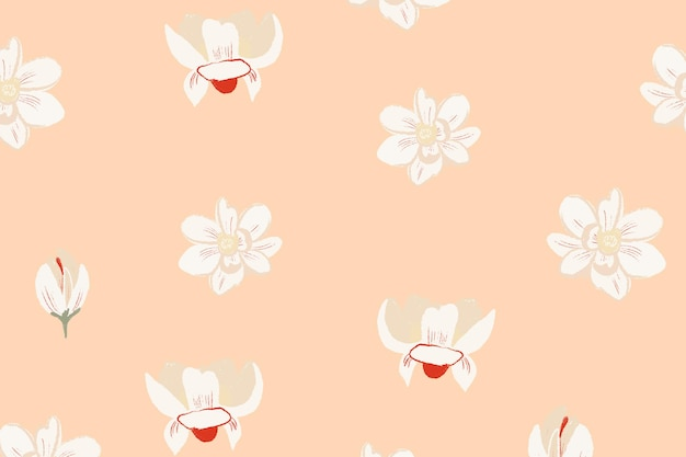 Белый цветочный узор магнолии на бежевом фоне