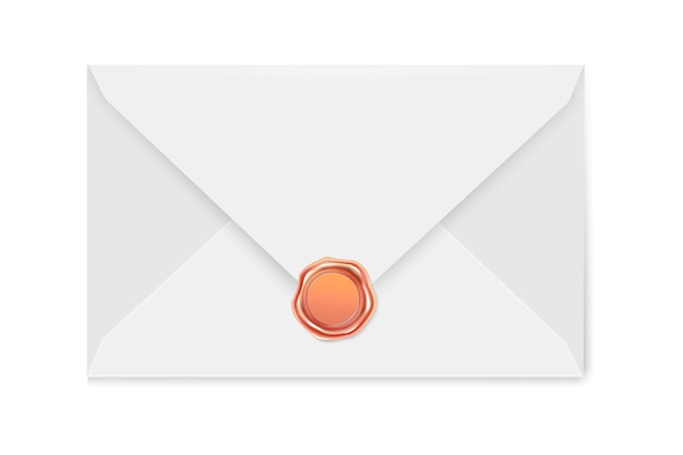White mail envelope with a  stamp. illustration of the wax luxury seal