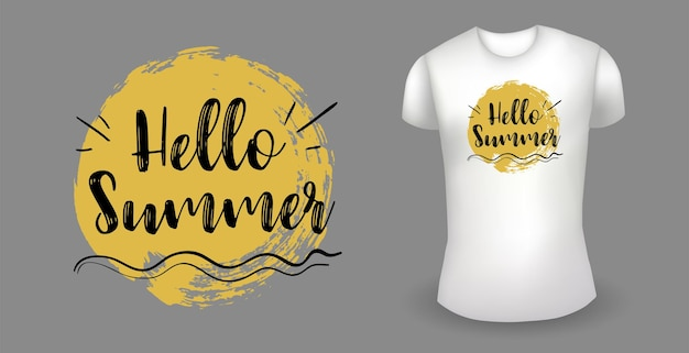 White male realistic t shirt with label hello summer badge vector