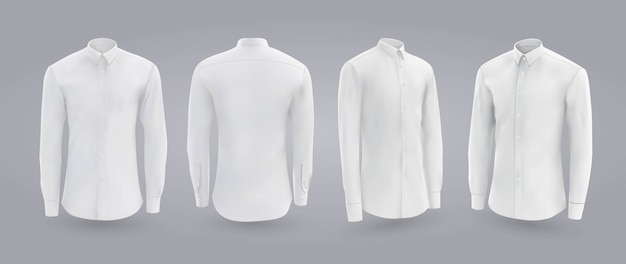 White male shirt with buttons in front, back and side view.