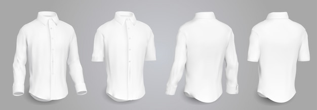 White male shirt with long and short sleeves and buttons in front, back and side view