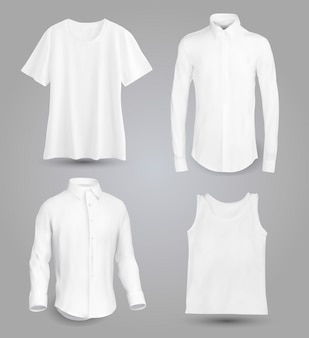 White male shirt with long and short sleeves and buttons in front