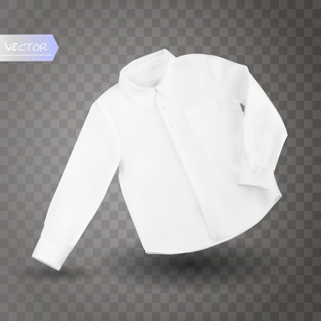White male shirt with long sleeves and buttons in front, isolated